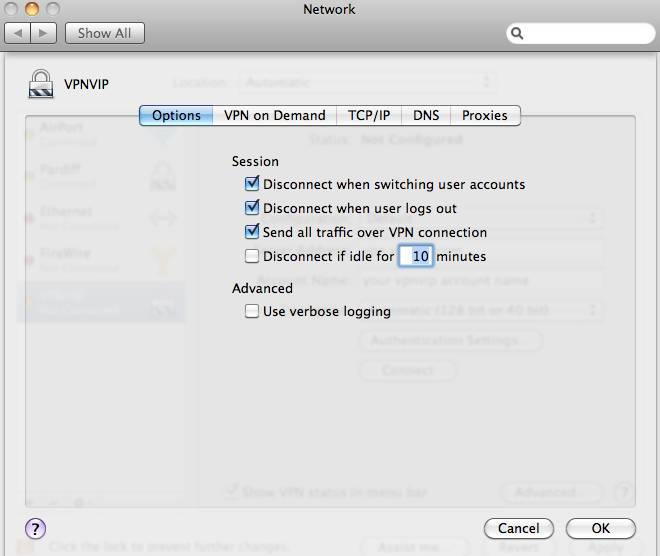 how to change vpn settings mac